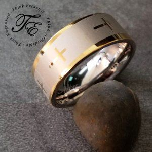 Mens Christian Cross Ring Silver and Gold